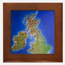 Relief map of the United Kingdom and E Framed Tile
