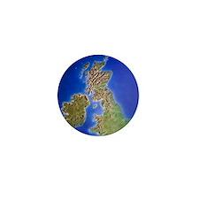 Relief map of the United Kingdom and E Mini Button