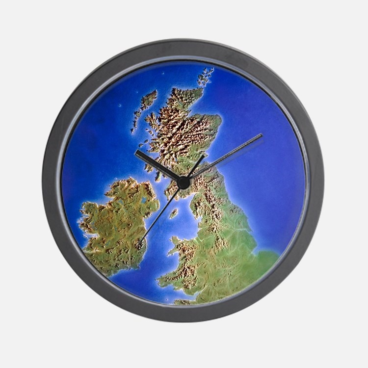 Relief map of the United Kingdom and Ei Wall Clock