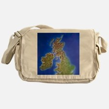 Relief map of the United Kingdom and Messenger Bag