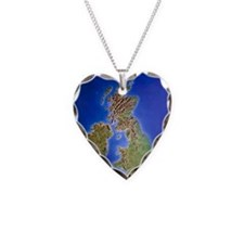 Relief map of the United King Necklace Heart Charm