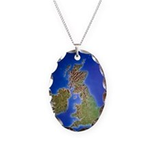 Relief map of the United Kingd Necklace Oval Charm