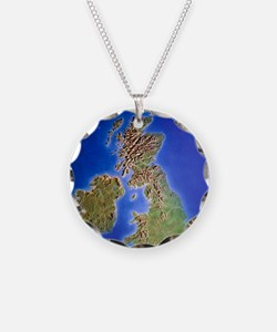 Relief map of the United Kin Necklace Circle Charm
