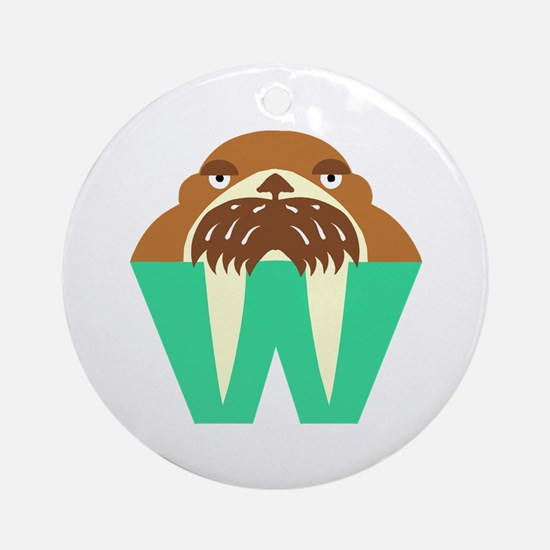 W is for Walrus Ornament (Round)