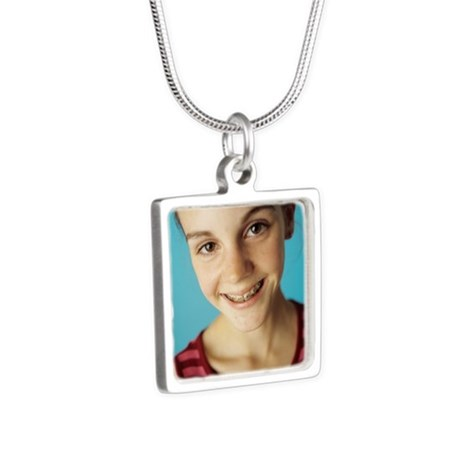 Dental braces Silver Square Necklace