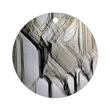 Pyrite crystal surface Round Ornament