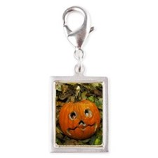 Pumpkin cut into Halloween l Silver Portrait Charm