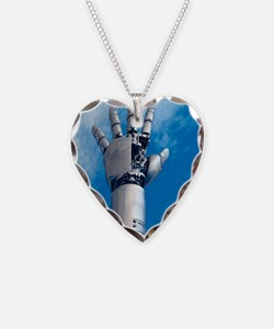 Cybernetic arm, artwork Necklace Heart Charm