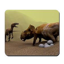 Protoceratops dinosaur defending eggs Mousepad