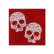 "Heart Skull Square Sticker 3"" x 3"""