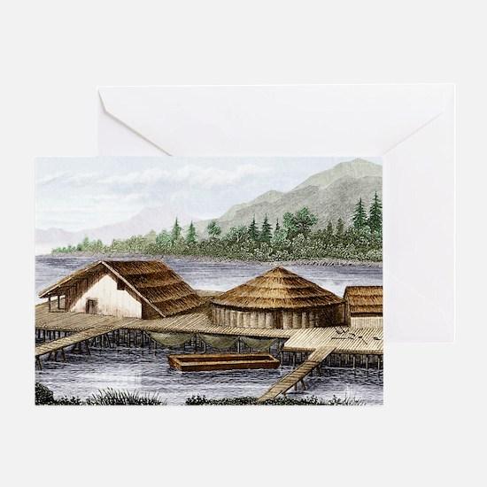 Prehistoric lake village Greeting Card