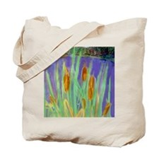 Cattails on a New York lake. Tote Bag