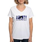 AGILITY: Will weave  Women's V-Neck T-Shirt