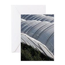 Polytunnels growing raspberry plants Greeting Card