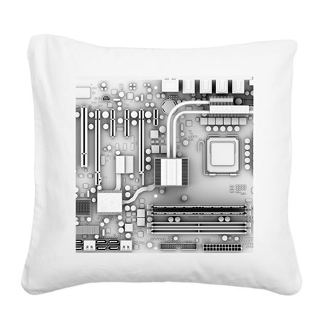 Computer motherboard, artwork Square Canvas Pillow