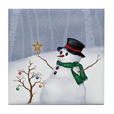White Christmas Tile Coaster