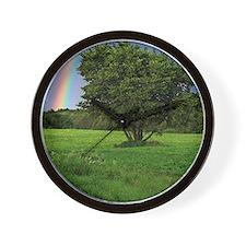 Tree under  rainbow Wall Clock