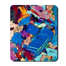 Polarised LM of a thin section of gabbro Mousepad