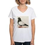 Black Whiteside Roller Pigeon Women's V-Neck T-Shi