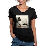 Black Whiteside Roller Pigeon Women's V-Neck Dark