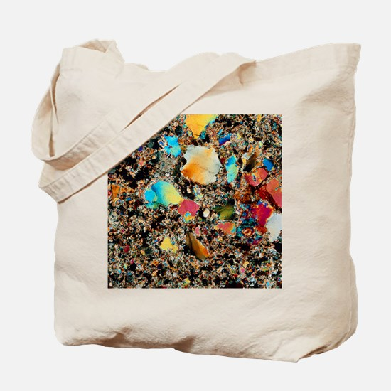 Polarised LM of granite in thin section Tote Bag
