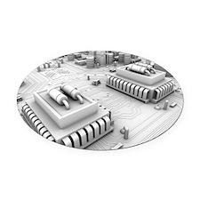Circuit board, artwork Oval Car Magnet