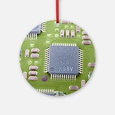 Circuit board microchip, SEM Round Ornament