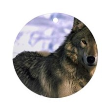 Alpha Wolf Round Ornament