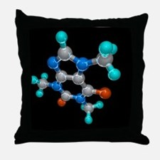 Caffeine, molecular model Throw Pillow