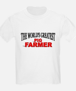 """The World's Greatest Pig Farmer"" Kids T-Shirt"