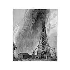 Oil well, 19th century Throw Blanket