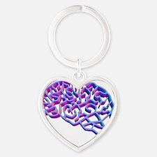 Brain complexity, conceptual artwor Heart Keychain