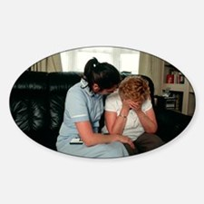 Nurse comforting upset woman Decal