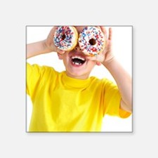 """Boy playing with doughnuts Square Sticker 3"""" x 3"""""""