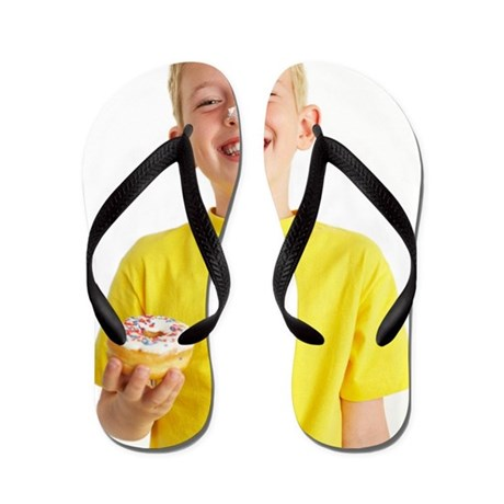 Boy eating a doughnut Flip Flops
