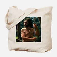 Neanderthal with shell ornament, artwork Tote Bag