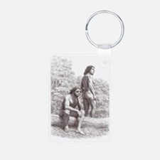 Neanderthal couple Keychains