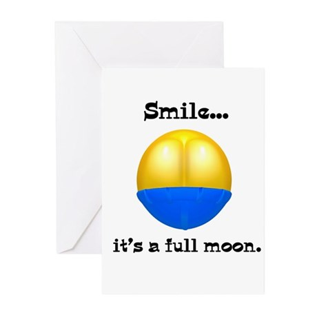 Full Moon Smile Butt Crack Greeting Cards (Package