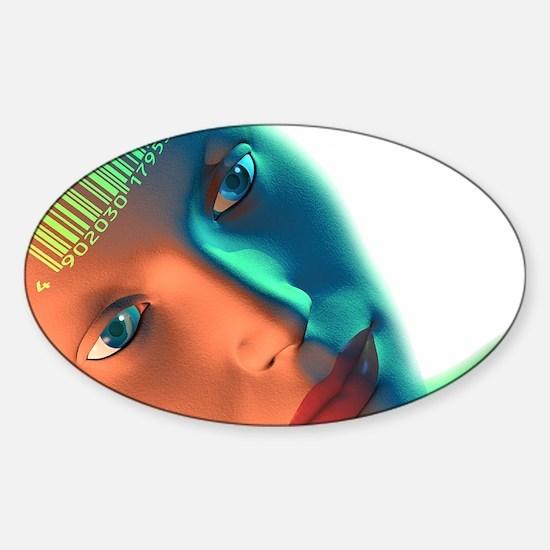 Biometric identification, artwork Sticker (Oval)