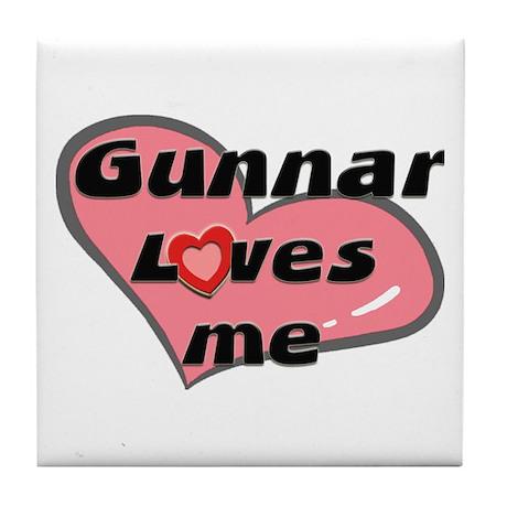 gunnar loves me Tile Coaster