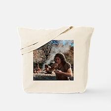 Neanderthals cooking vegetables, artwork Tote Bag