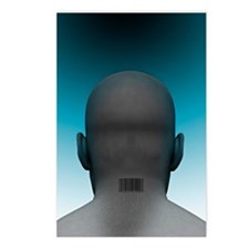 Barcoded man, artwork Postcards (Package of 8)