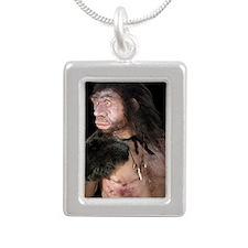 Neanderthal man Silver Portrait Necklace