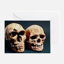 Neanderthal and Cro-Magnon 1 skulls Greeting Card