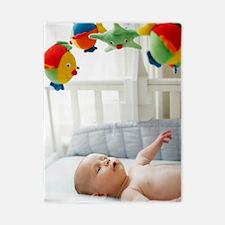 Baby boy in his cot Twin Duvet