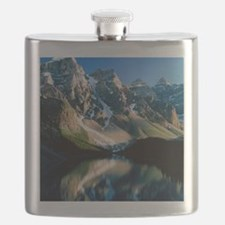 Mountains reflected in Moraine Lake, Canada Flask