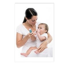 Baby using an asthma spac Postcards (Package of 8)