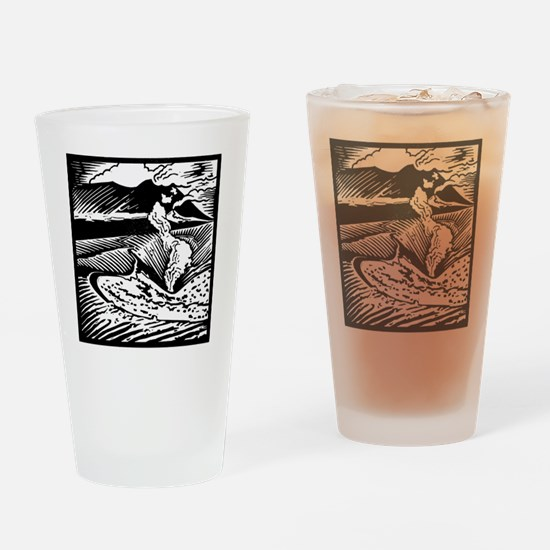 Mount Etna, woodcut Drinking Glass
