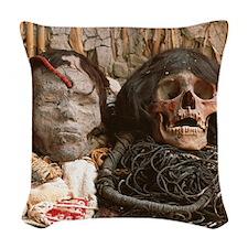 Mummified heads Woven Throw Pillow
