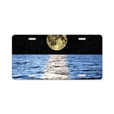 Moon over the sea, composit Aluminum License Plate